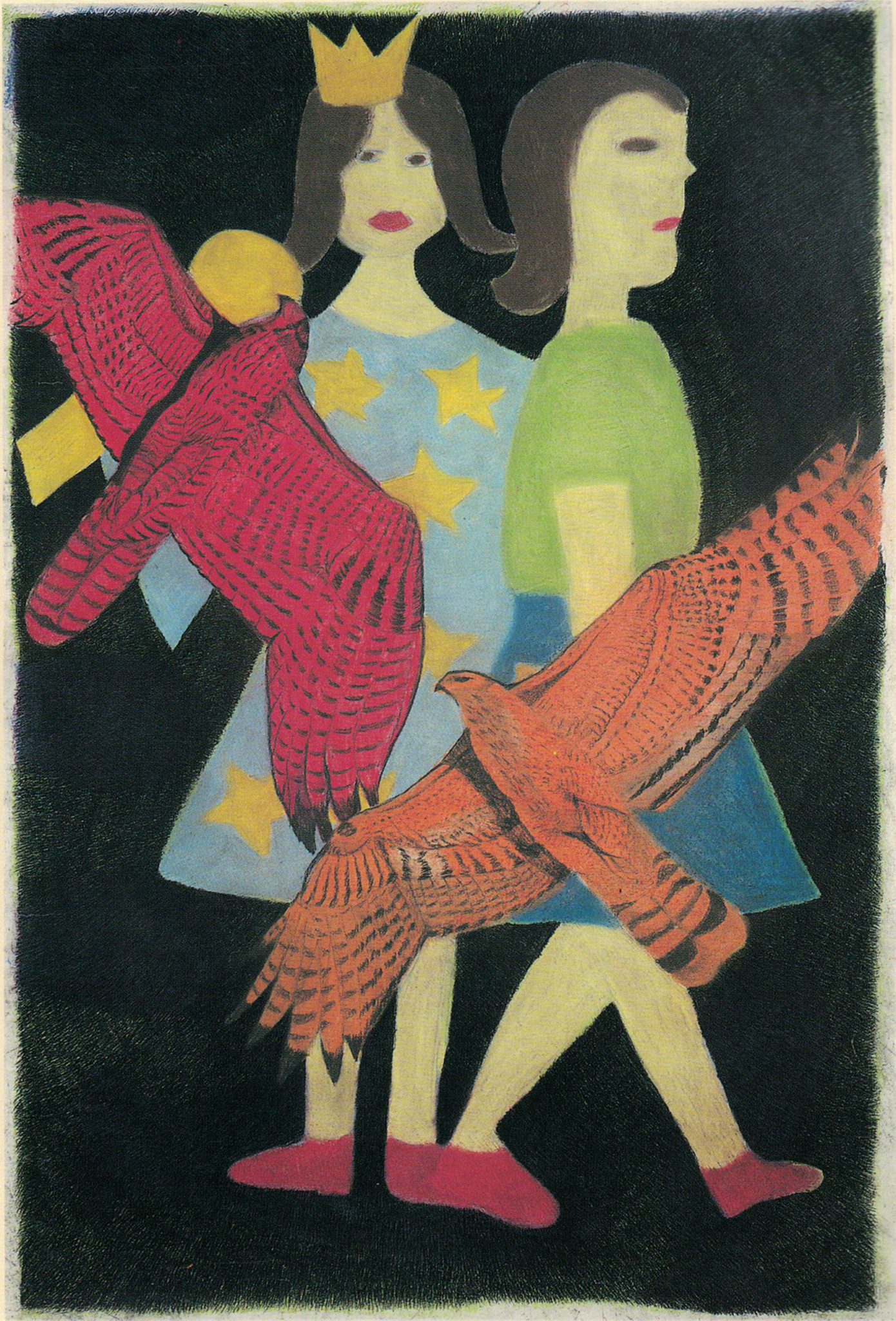 A queen, a girl and two birds, 2000
