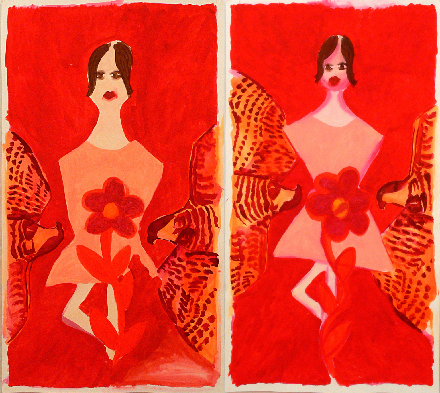 2 x A dancer, flower and two birds, 2009
