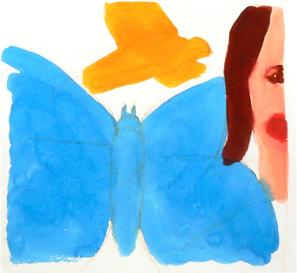 A girl's portrait, a butterfly and a bird, 2012