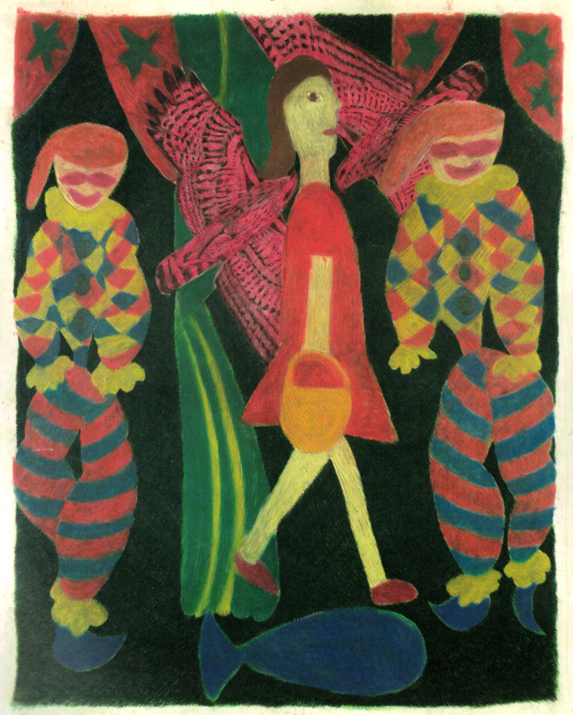 A girl, two clowns,birds and a fish, 2003