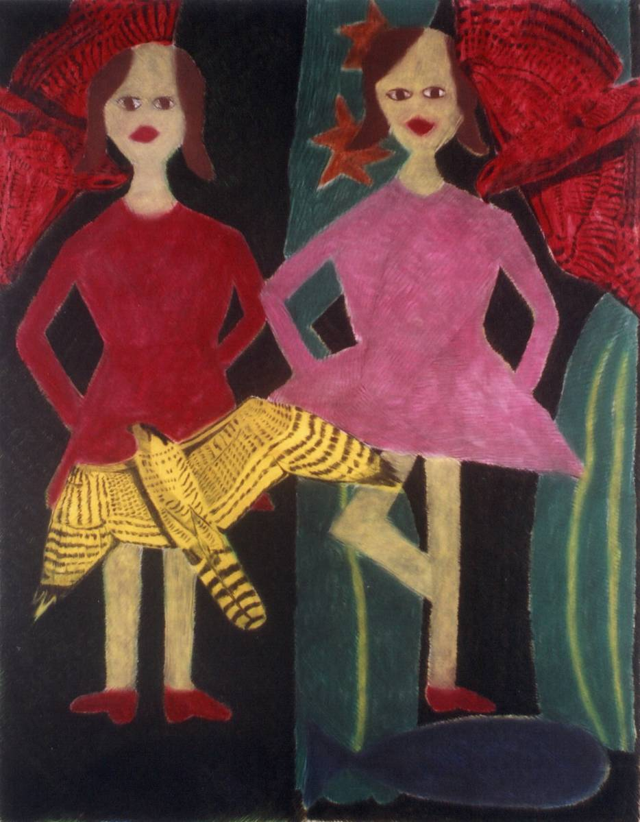 A girl, a dancer and birds, 2004