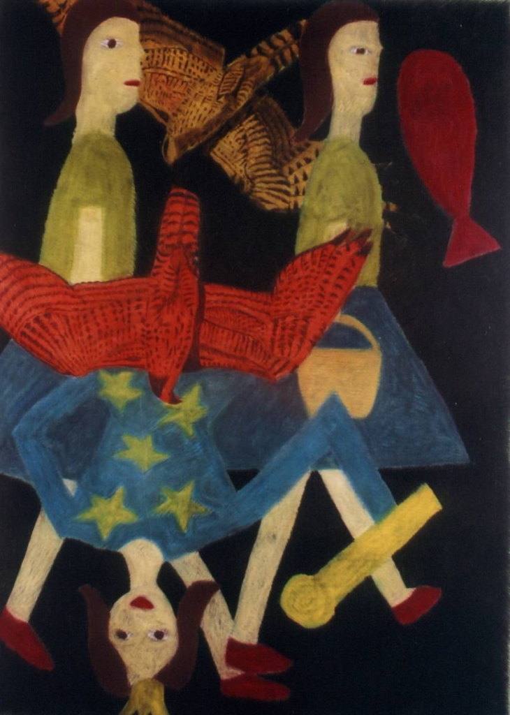 Two girls, a queen, birds and a fish, 2004