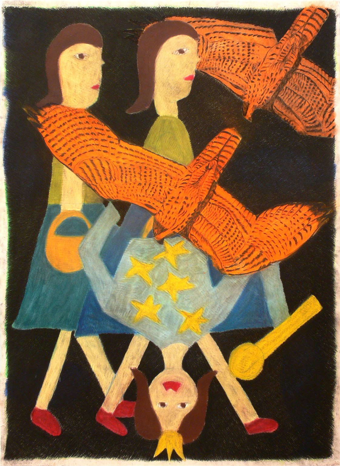 Walking girls and upside-down queen, 2001