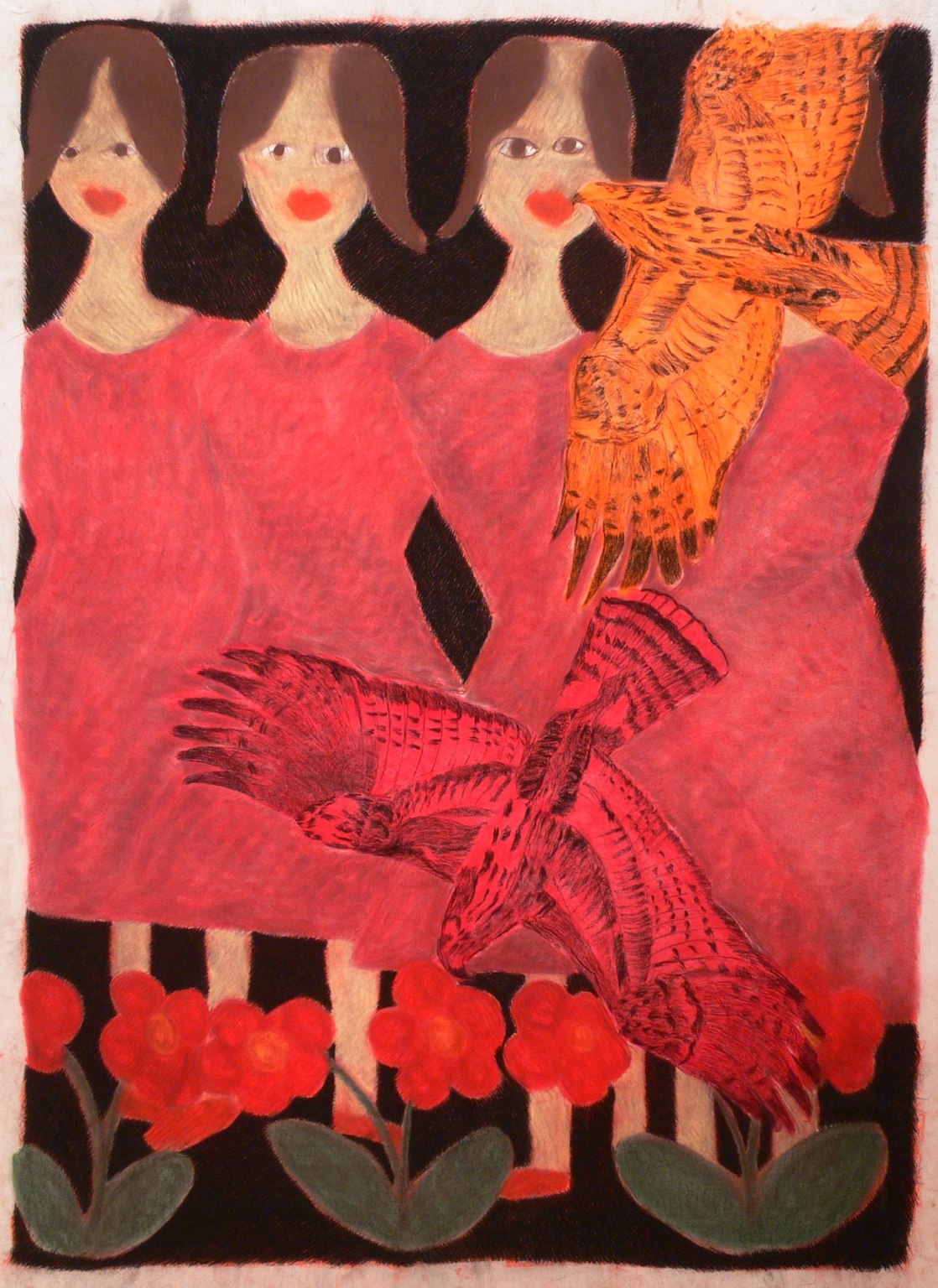 Four girls and a bird, 2004