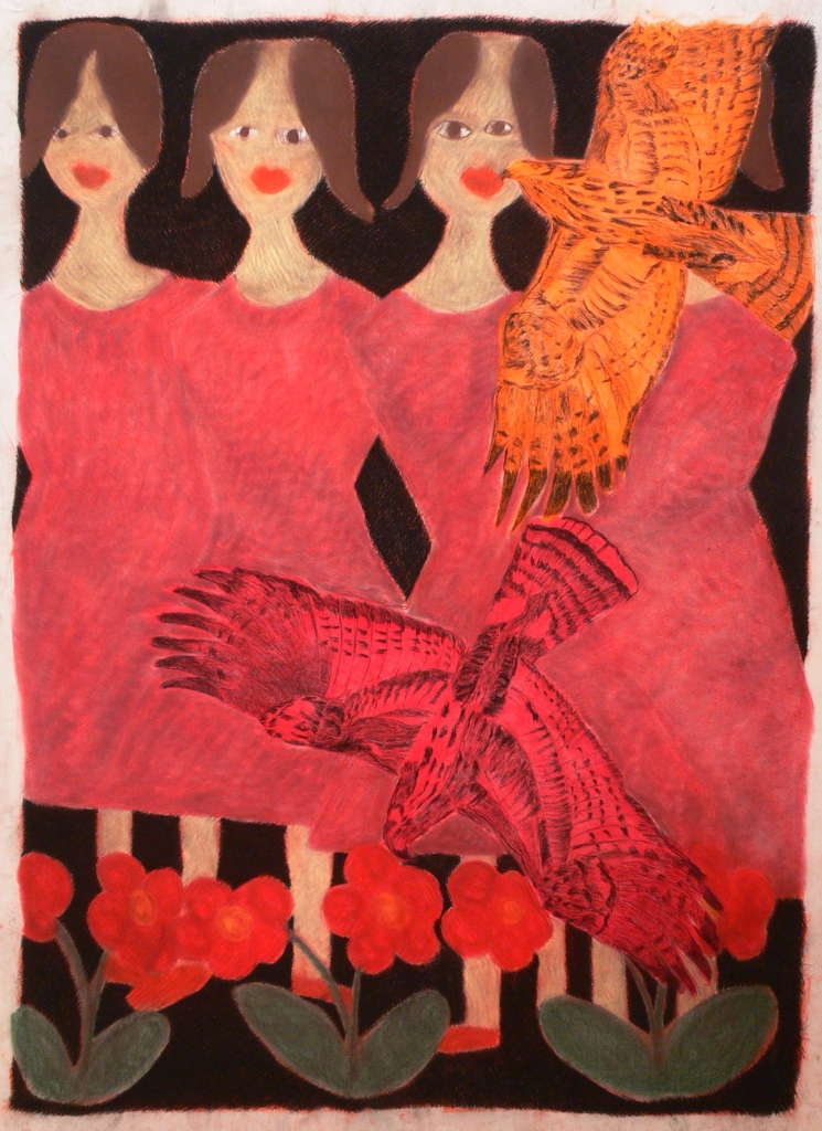 Four girls and a bird, 2004