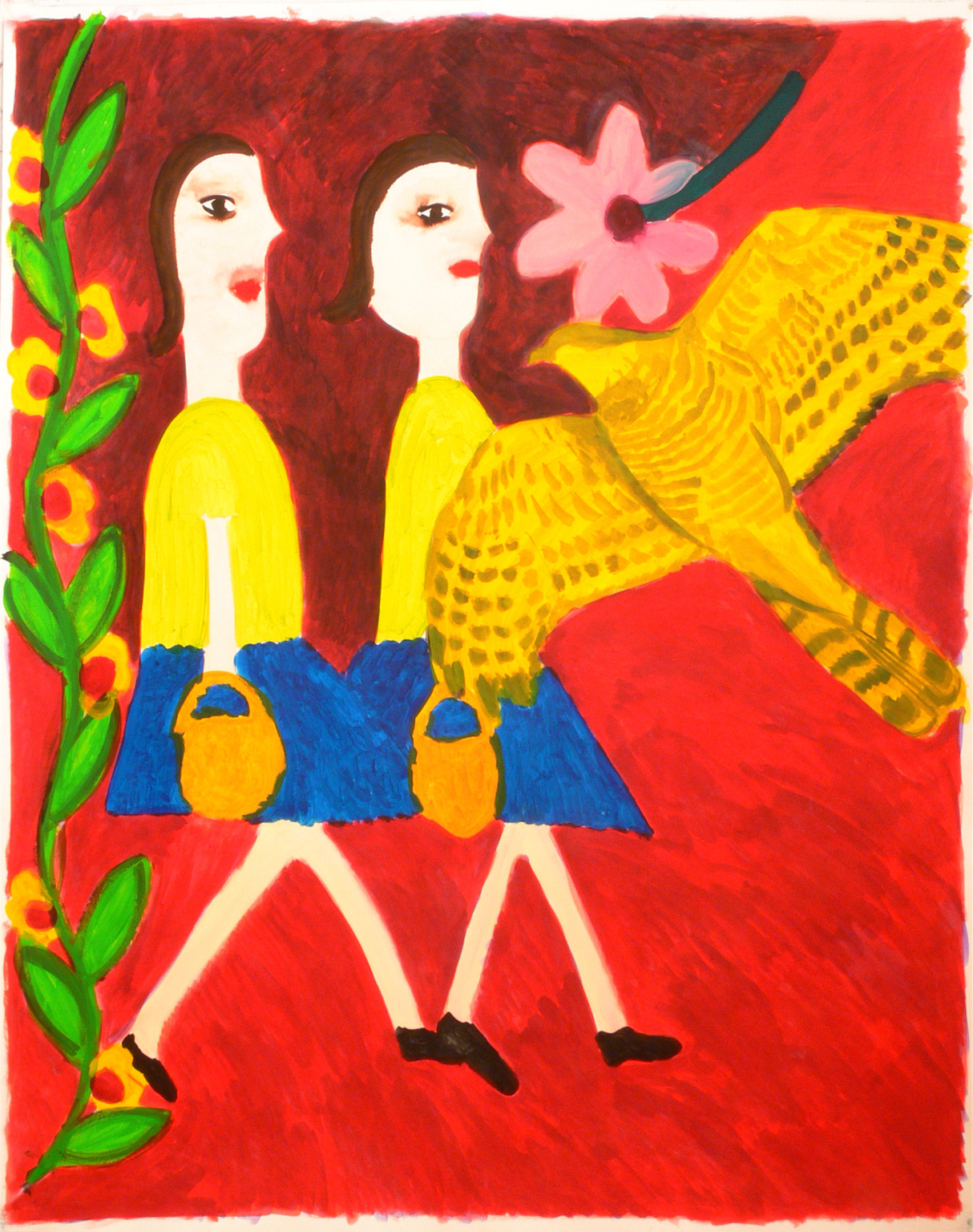 Two girls, a bird and flowers, 2007