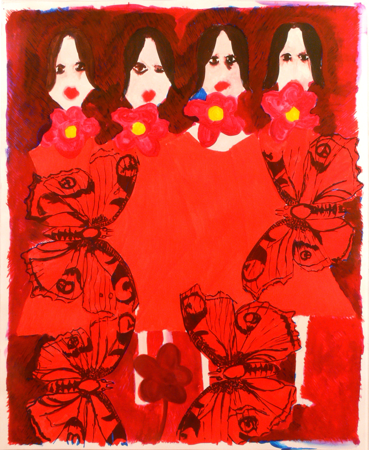 Four girls, butterflies and flowers, 2010