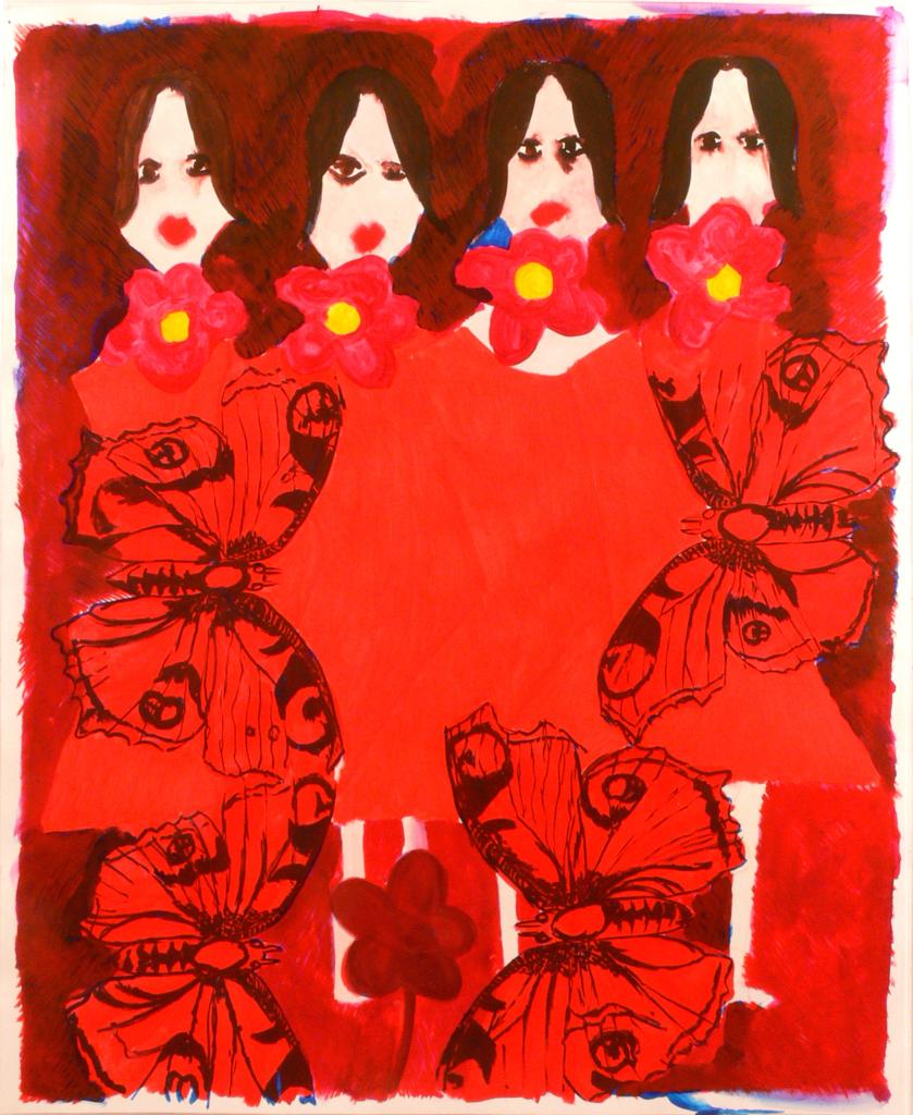 Four girls, butterflies and flowers, 2010