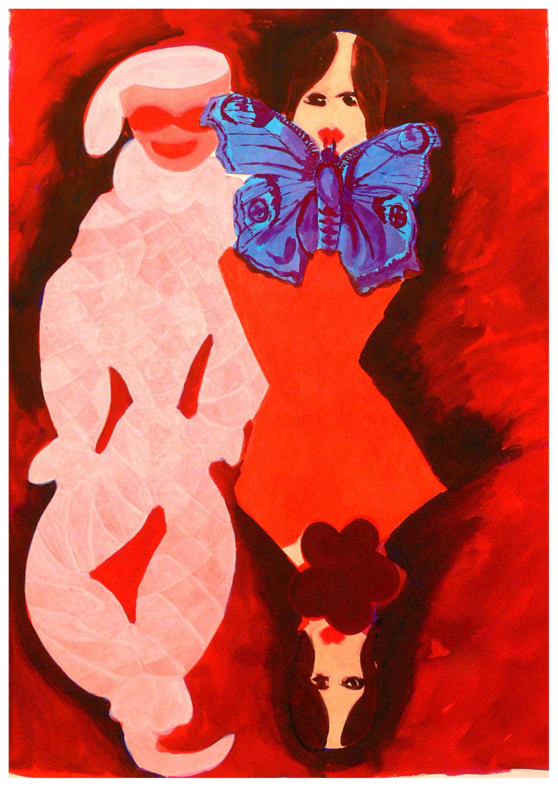 Two girls a clown and a butterfly, 2011