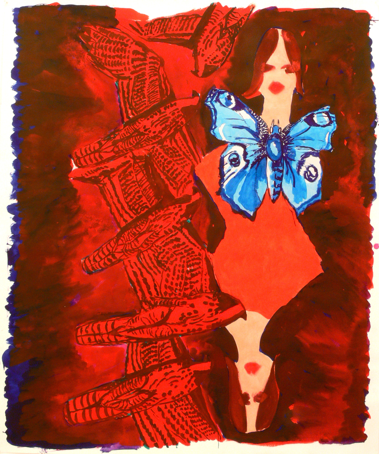 Two girls, birds and a butterfly, 2011
