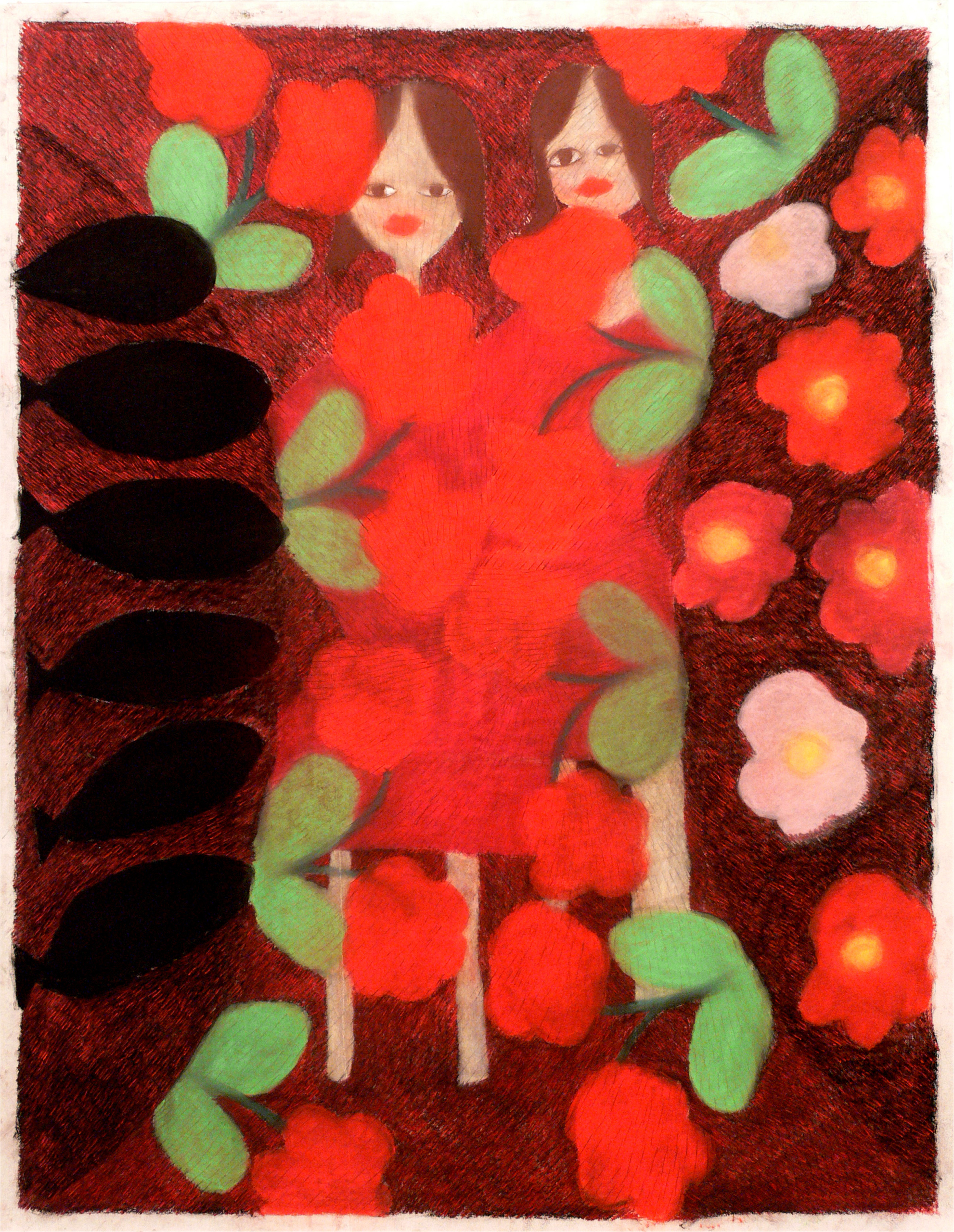 Two girls, flowers and fishes, 2005