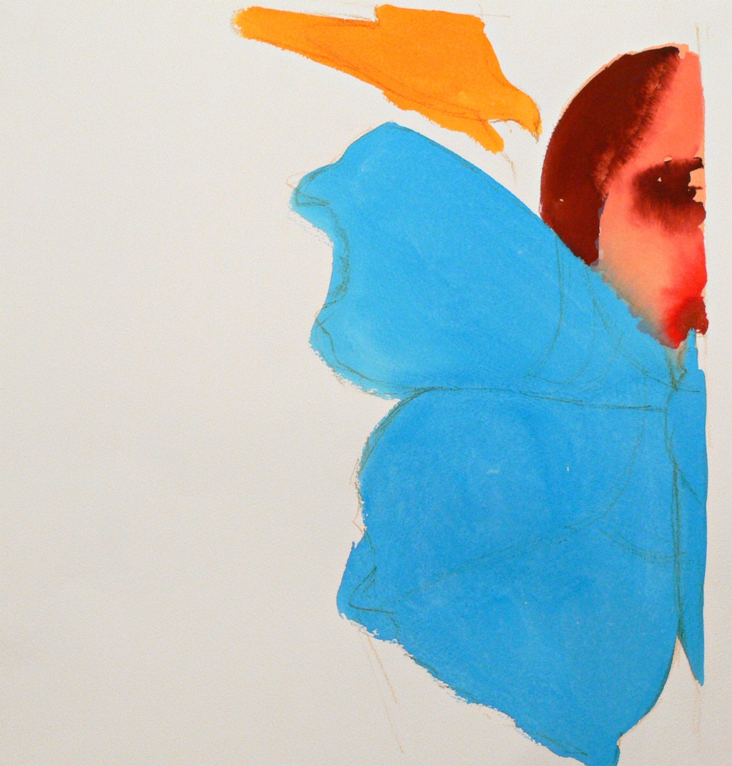 A girl's portrait, a bird and a butterfly, 2012