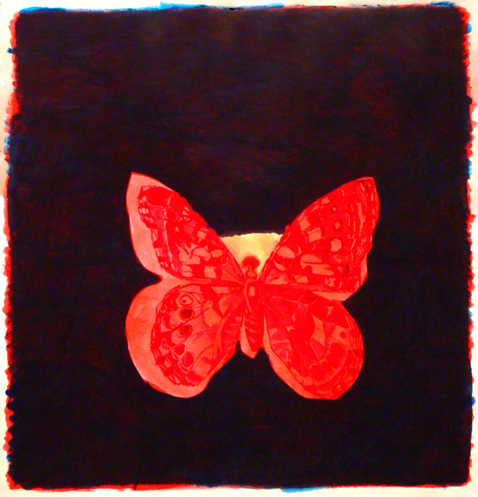 A girl's close-up and a butterfly, 2014