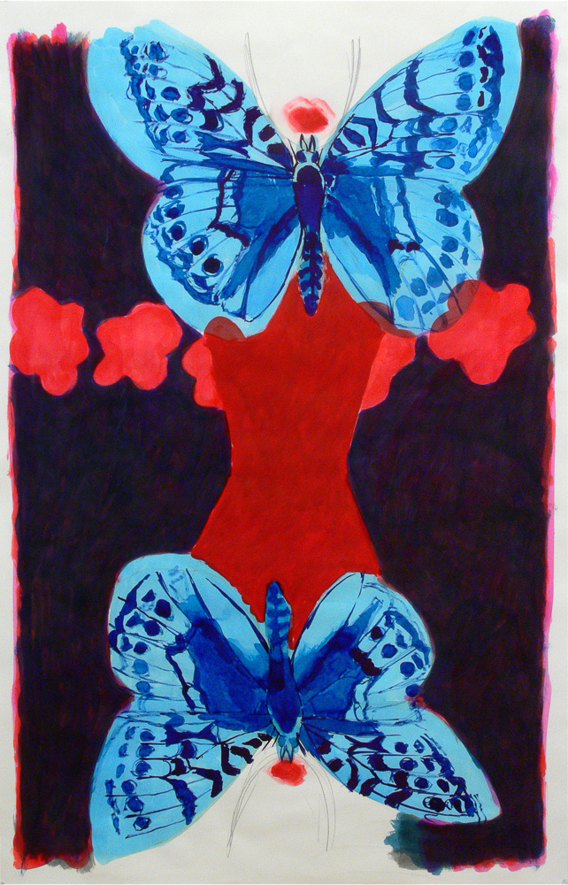 two girls, butterflies and flowers, 2015