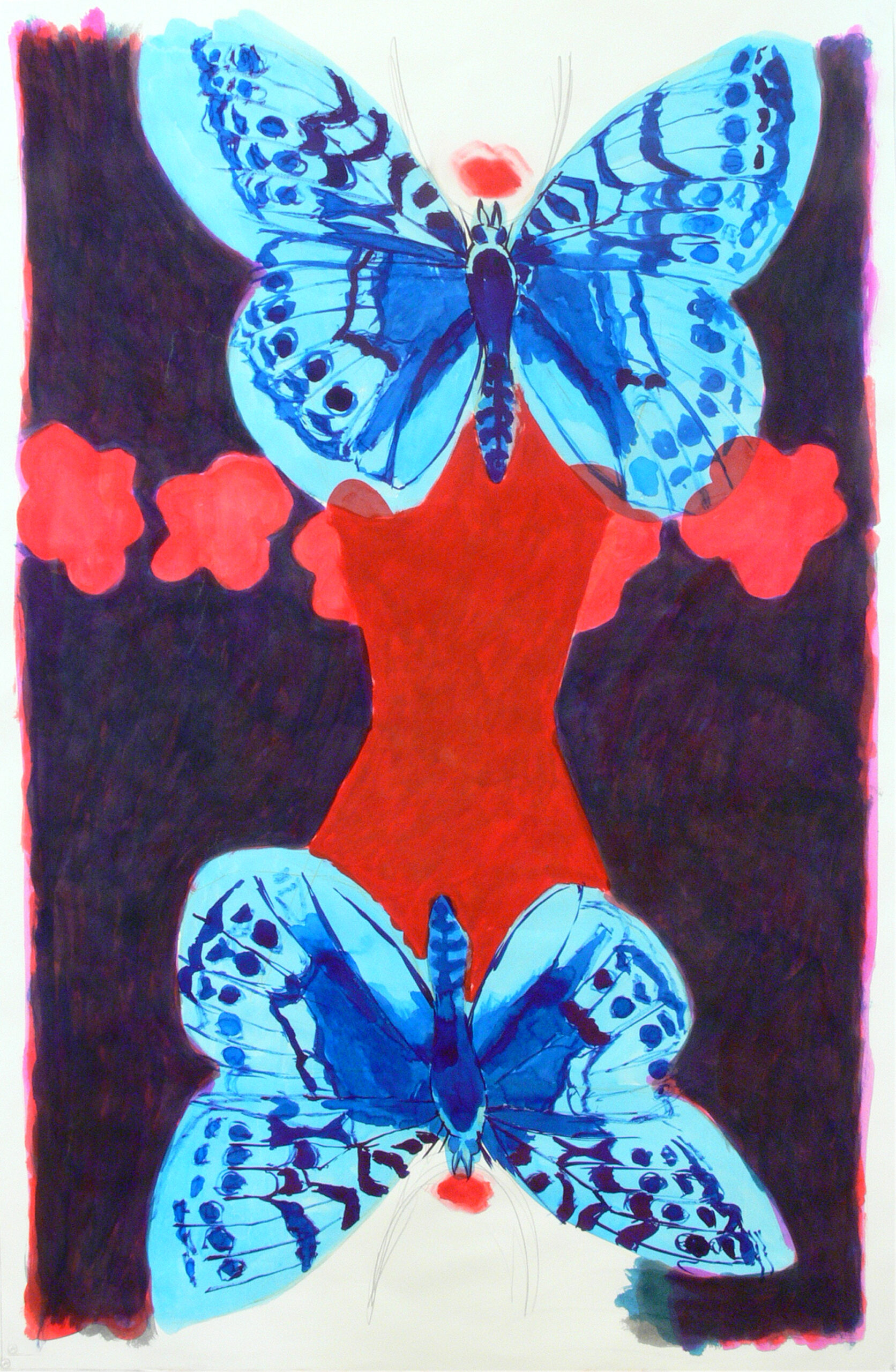Two girls, two butterflies and flowers, 2014