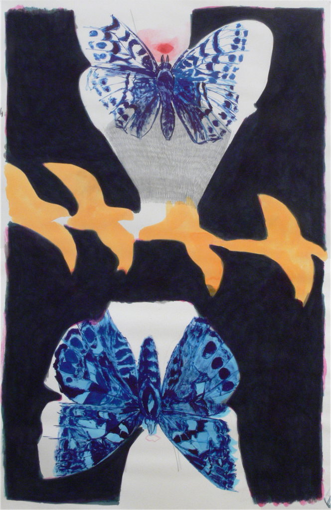Two girls, two butterflies and birds, 2015