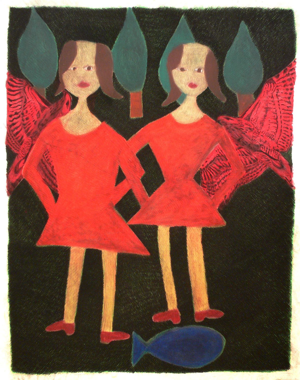 Two girls, birds and trees, 2002