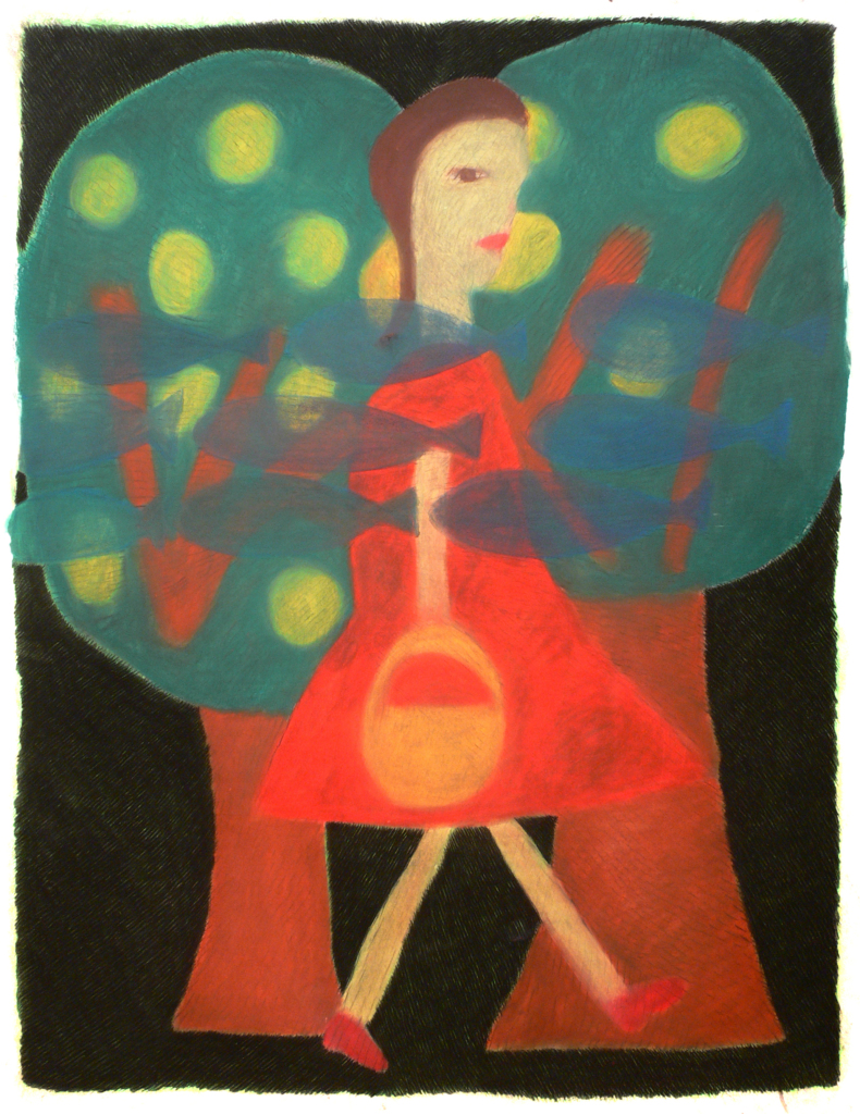 A girl, trees and fishes, 2004