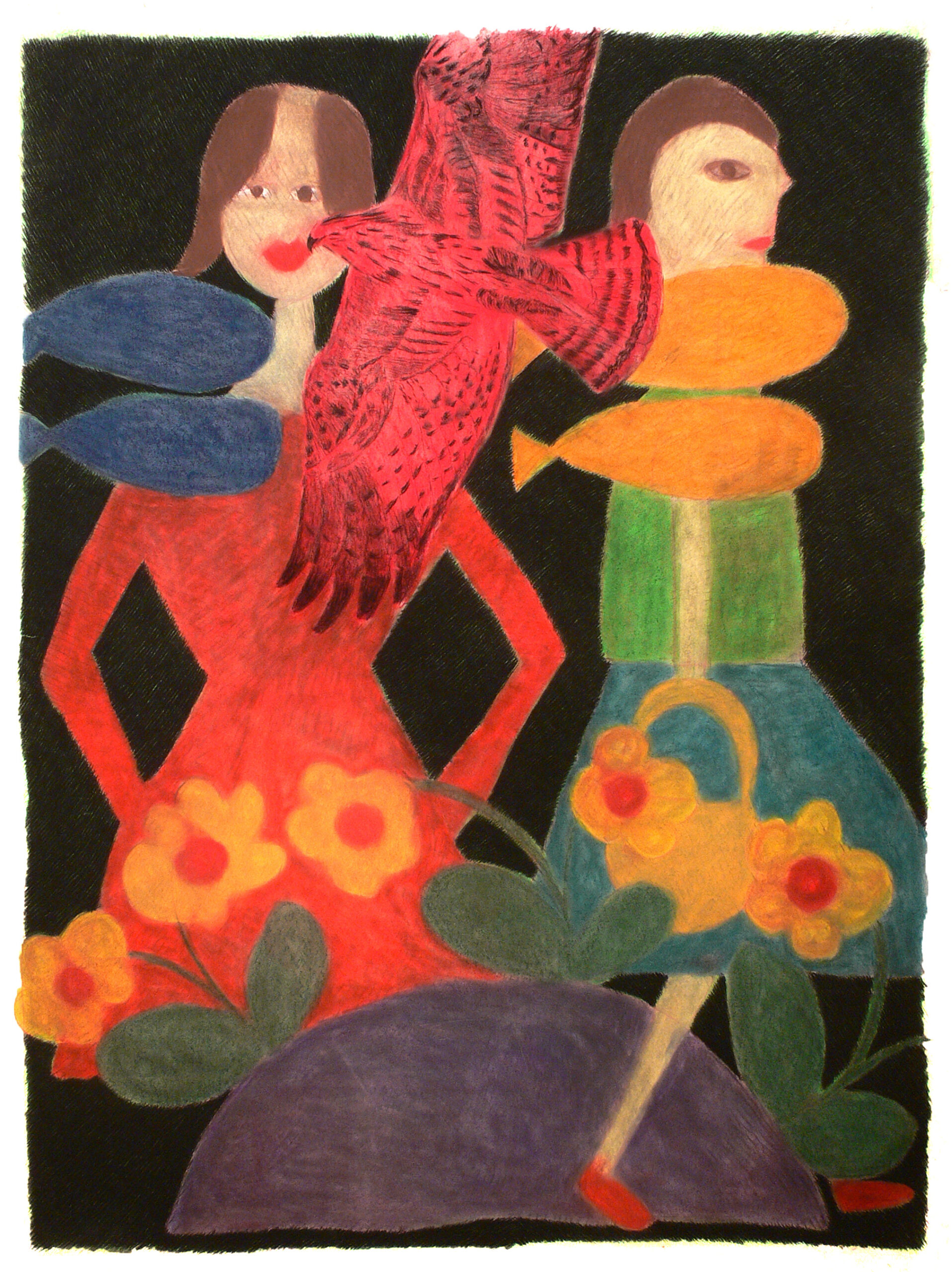 Two girls, a bird, flowers and fishs, 2004