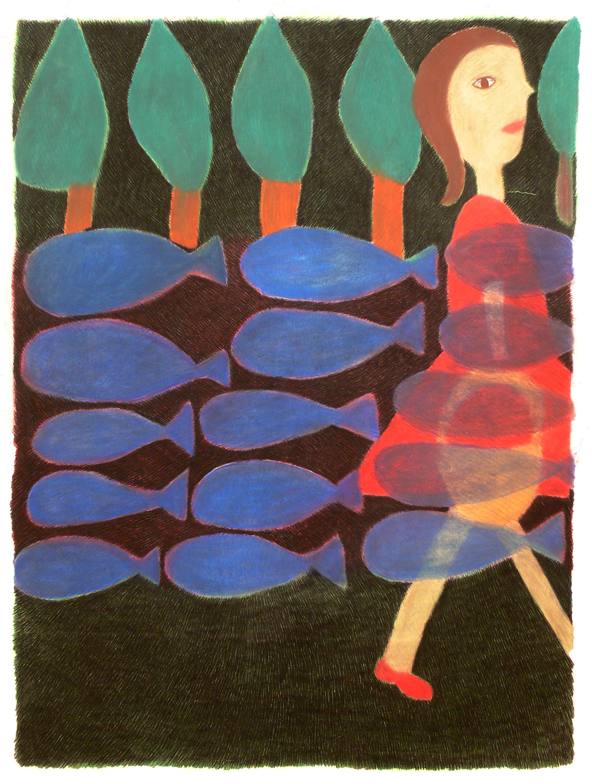 a girl, trees and fishes ,2004