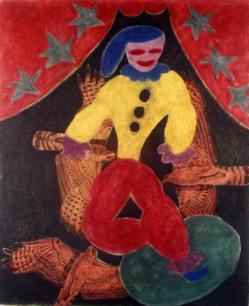 A clown and three birds, 2004